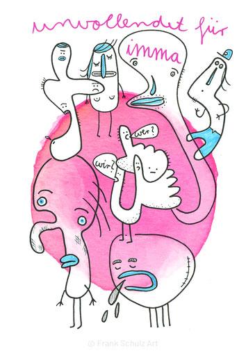 Figuren in blau und pink, gezeichnet von Frank Schulz