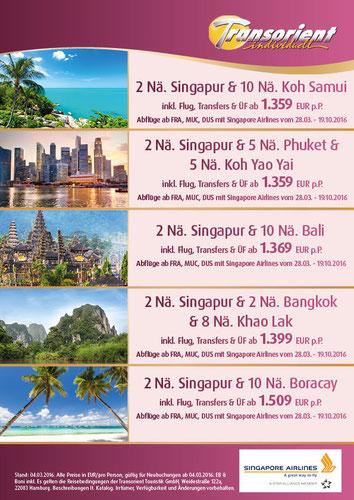 Frühbucher Reisen Asien Angebote nach Thailand Bali Singapur Vietnam Mai Juni September November 2016