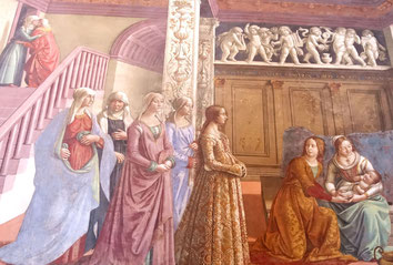 Detail from: The Birth of Mary by Domenico Ghirlandaio, showing a group of ladies in typical 15th century Renaissance dress;, Cappella Tornabuoni, Santa Maria Novella, Firenze. picture taken by Nina Möller