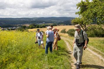Teilnehmer der Wanderung vor dem Fenchelfeld (HB)