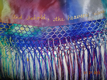Detail of Holy Spirit Prayer Shawl showing fringe and Scripture references.