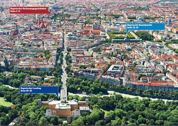 Die Veranstaltungsorte in München zum gemeinsamen Tag der offenen Tür (Foto: Bayerischer Landtag, Landtagsamt Abteilung Parlamentarische Dienste)