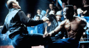 Patrick Kilpatrick mit Billy Blanks am Set von American Karate Tiger