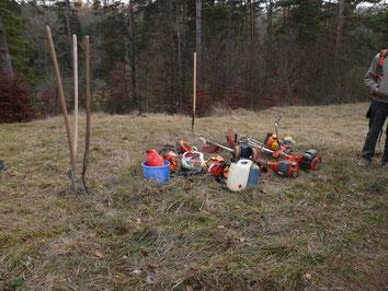 Mit Motorsensen und Heugabeln halten wir die Wiesenflächen frei.