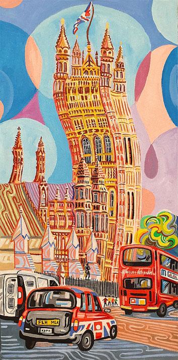 TORRE VICTORIA (LONDRES). Huile sur toile. 100 x 50 x 3,5 cm.