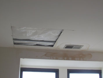 Opened up ceiling for building engineer to determine source of leak