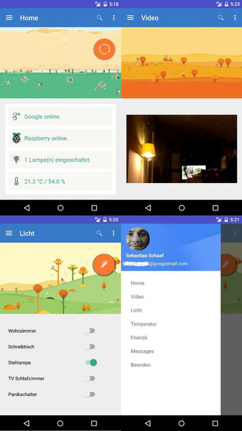 Raspberry Pi piHome Android App Smart Home