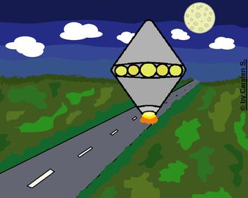 Wie aus einem schlechten Film. Eine einsame Straße, auf der ein UFO auftaucht. In diesem Moment dürfte die Betroffene ziemlich verängstigt und verwirrt gewesen sein.