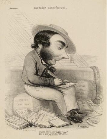 Gravure de Benjamin représentant Eugène Sue au milieu de ses œuvres maritimes