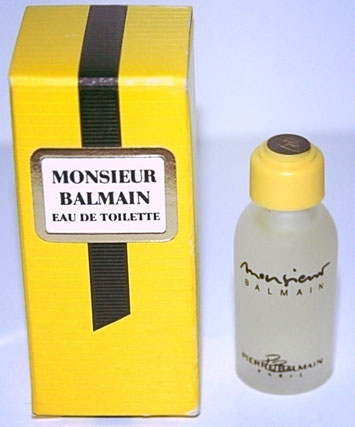 MONSIEUR BALMAIN - EAU DE TOILETTE : VARIANTE DE LA BOÎTE ET DE LA MINIATURE
