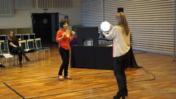 Niki Ellinidou beim Proben vor der Jury am Teatro Real Madrid