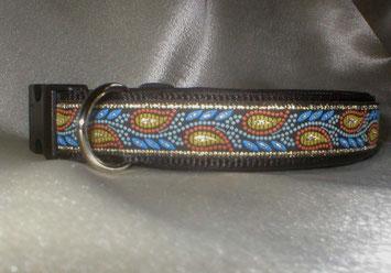 Klickverschluss, Halsband, 3cm, Gurtband schwarz, Borte Zauberranke