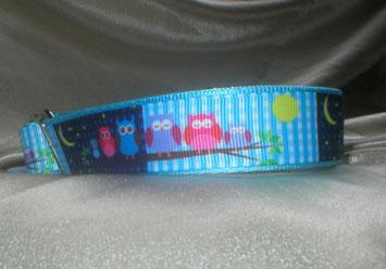 Halsband, Hund, Martingale, 2,5cm breit, mit Borte, Eulen
