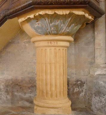 En 2018, Restauration du pied de la chaire, érigée en 1672