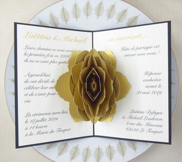 Invitation mariage la rose en pop-up