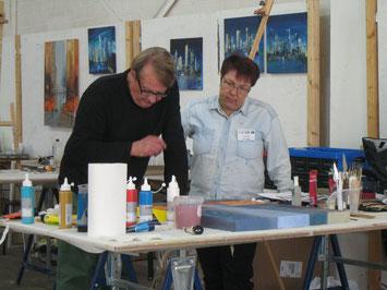 Bernd Klimmer und ich bei der Arbeit
