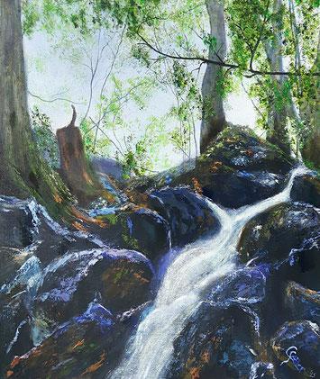 Natur, Acryl, Baum, Wasserfall, Rhön, grün, Bäume, Wasser, gelb, braun