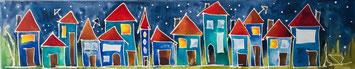 Häuser, bunt, Leinwand, Aquarell, handgemalt von Künstlerin JULIA! Neulinger -Kahl