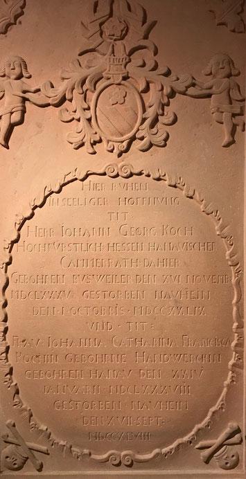 Grabstein von Johann Georg Koch und seiner Ehefrau Francisca.  Foto: Brigitta Gebauer