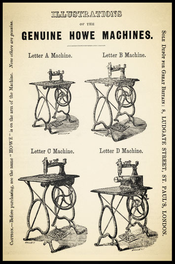 Figure 97.—Advertising brochure distributed by E. Howe during the brothers' brief partnership; the machines are basically A. B. Howe machines, 1863. (Smithsonian photo)