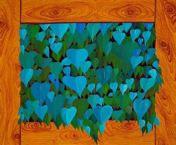 Feuillage et cadre bois, 2011, Acrylic on canvas, 45 x 55 cm, Private collection