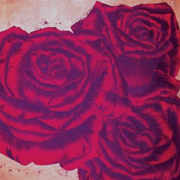 Rosengemälde MARVELLOUS, Öl und Blattkupfer auf Leinwand 90 x 90 cm Pia Phoenix