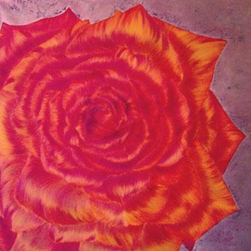Rosengemälde SPLENDID, Öl und Blattkupfer auf Leinwand 90 x 90 cm Pia Phoenix