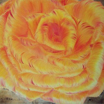 Rosengemälde SUNRISE, Pia Phoenix, Öl und Kompositionsblattgold auf Leinwand