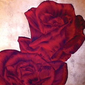 Rosengemälde BREATHLESS, Öl und Blattkupfer auf Leinwand 90 x 90 cm Pia Phoenix