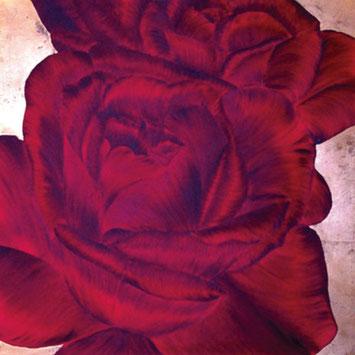 Rosengemälde LUCKY IN LOVE, Öl und Blattkupfer auf Leinwand 90 x 90 cm Pia Phoenix