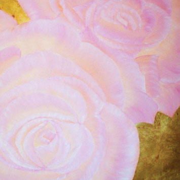 Rosengemälde INNOCENT, Öl und Kompositionsblattgold auf Leinwand 90 x 90 cm Pia Phoenix