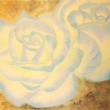 Rosengemälde  GOLDEN WHITE, Öl und Kompositionsblattgold auf Leinwand 90 x 90 cm Pia Phoenix