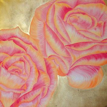 Rosengemälde SWEETS 4 MY SWEET, Öl und Kompositionsblattgold auf Leinwand 90 x 90 cm Pia Phoenix