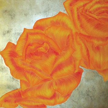 Rosengemälde MILK & HONEY, Öl und Kompositionsblattgold auf Leinwand 90 x 90 cm Pia Phoenix
