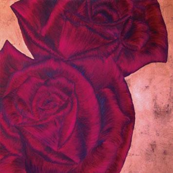 Rosengemälde WHATEVER IT TAKES, Öl und Blattkupfer auf Leinwand 90 x 90 cm Pia Phoenix