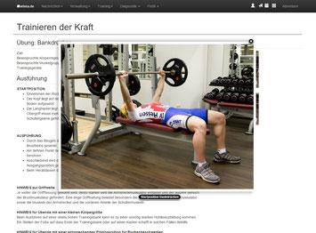 Übungsdokumentation für das Athletiktraining in Wort, Bild und Video