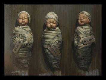 Clones, bébés, peinture, nouveau-né,