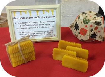 Lingots 100% cire d'abeilles de l'Abeille villadéenne, apicultrice récoltante à La Villedieu en Charente maritime