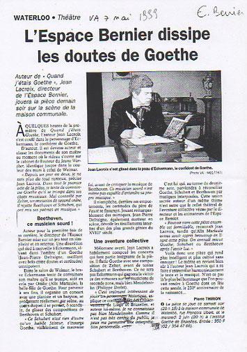 """Article du journal """"Vers l'Avenir"""" pour la pièce """"Quand j'étais Goethe"""" de Jean Lacroix"""