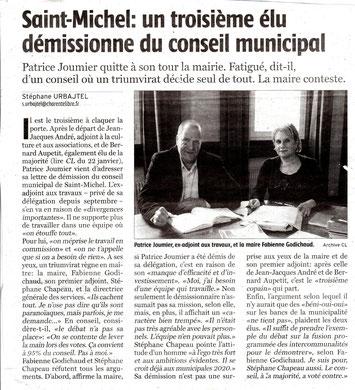 Article Charente Libre du 19 février 2016