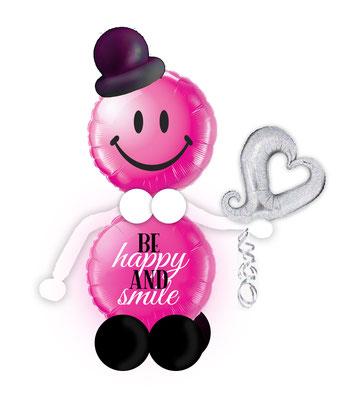 Ballon Folienballon Herz Herzballon Muttertag Be happy and smile Corona Mama hab dich lieb mit Namen personalisiert Personalisierung Geschenk Deko Dekoration Mitbringsel Überraschung Idee Versand verschicken Smiley Männchen