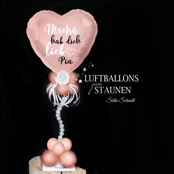 Ballon Folienballon Herz Herzballon Muttertag Mama hab dich lieb mit Namen personalisiert Personalisierung Geschenk Deko Dekoration Mitbringsel Überraschung Idee Versand verschicken Rose Blume