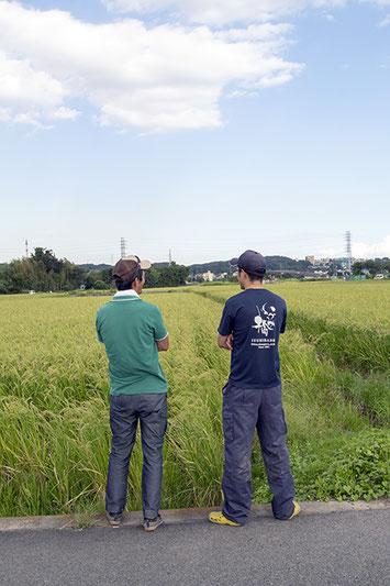 泉橋酒造では10年選手の高橋亮太さん(右)と話すのは、農業についての良き相談相手=兄貴分的な存在の池上さん(左)。