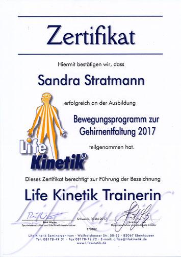 Zertifikat zur Life Kinetik® Trainerin