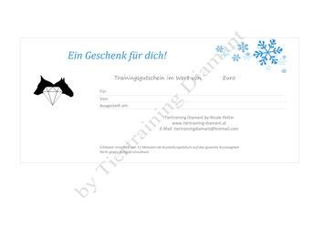 """Geschenkgutschein by Tiertraining Diamant - Design """"Winter"""" - Trainingsgutschein für Hundetraining und Tiertraining- Gutschein für Hundetraining und Ernährungsberatung für Hunde und Tiere"""