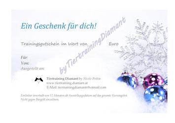 Geschenkgutschein für Hundebesitzer und Tierbesitzer by Tiertraining Diamant - Geschenkgutschein Weihnachten - Gutschein weihnachtlich-Gutschein für Hundetraining, Welpentraining, Ernährunsberatung, Alltagstraining-Hundeschule in Salzburg & Umgebung