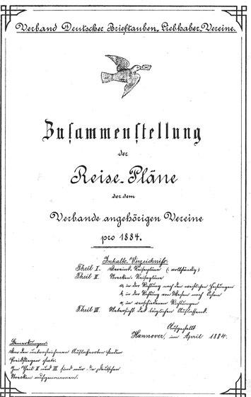 Übersicht über die Reisepläne der dem Verband angehörenden Vereine aus 1884