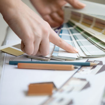 Sydney Budget Kitchens choosing the bathroom renovation colour scheme in our West Ryde showroom