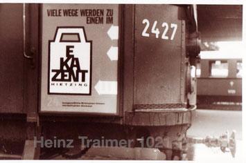 Straßenbahn in Wien 1964. Plakatwerbung EKAZENT Hietzing.