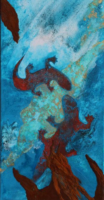 ohne Titel, 30 x 60 cm, Urgesteinsmehl, Acrylfarbe, Rost, Oxidation